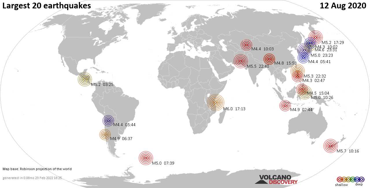 List, maps and statistics of the 20 largest earthquakes on Wednesday, 12 Aug 2020