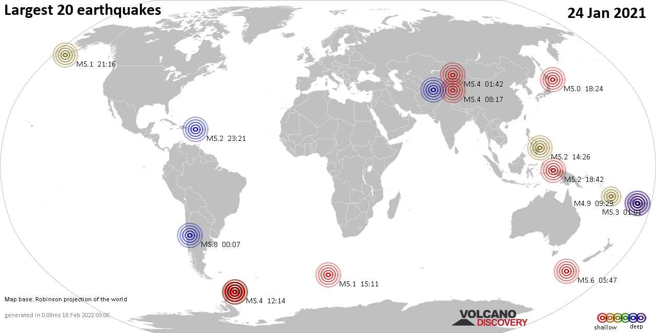 List, maps and statistics of the 20 largest earthquakes on Sunday, 24 Jan 2021