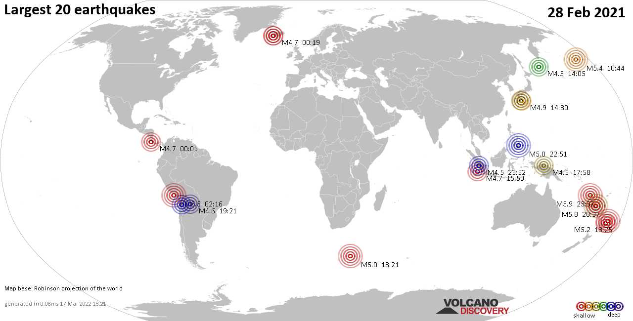 List, maps and statistics of the 20 largest earthquakes on Sunday, 28 Feb 2021