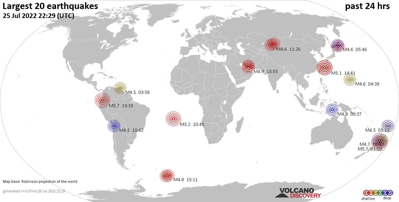 Earthquakes Today: list and maps of the 20 largest earthquakes during the past 24 hours