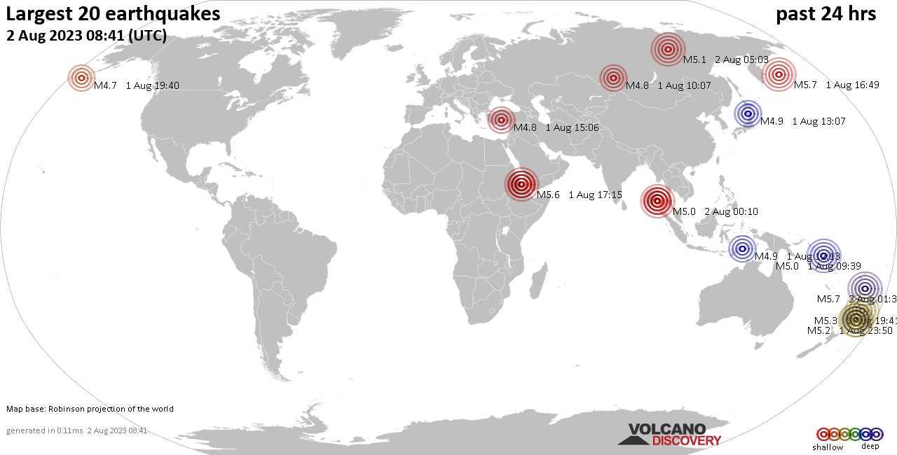 Erdbeben Heute: Liste & Karte der 20 größten Beben in den letzen 24 Stunden