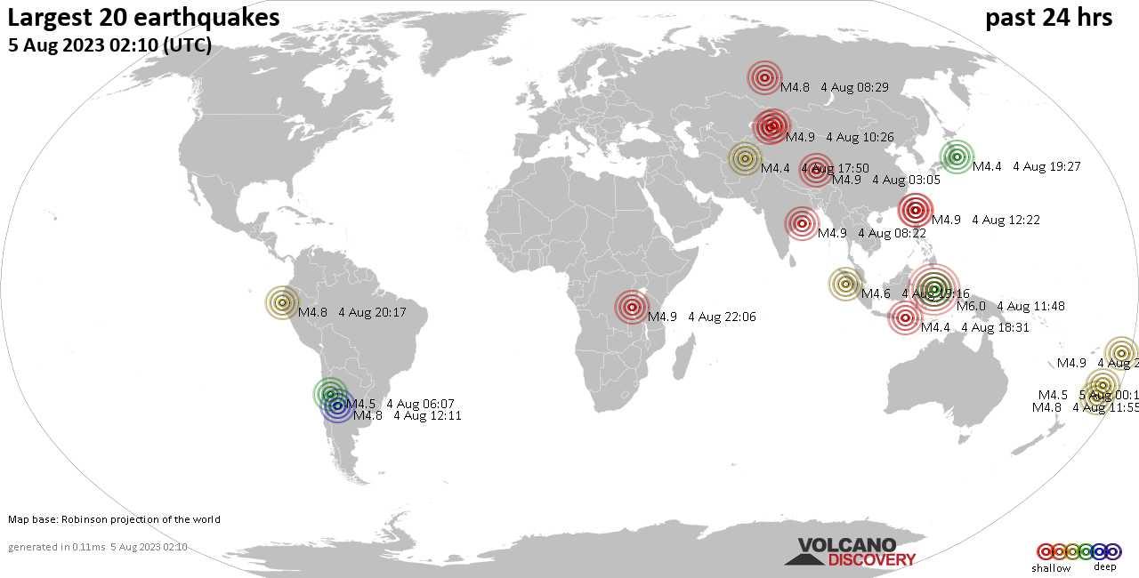 Derniers 20 séismes les plus forts dernières 24 heures