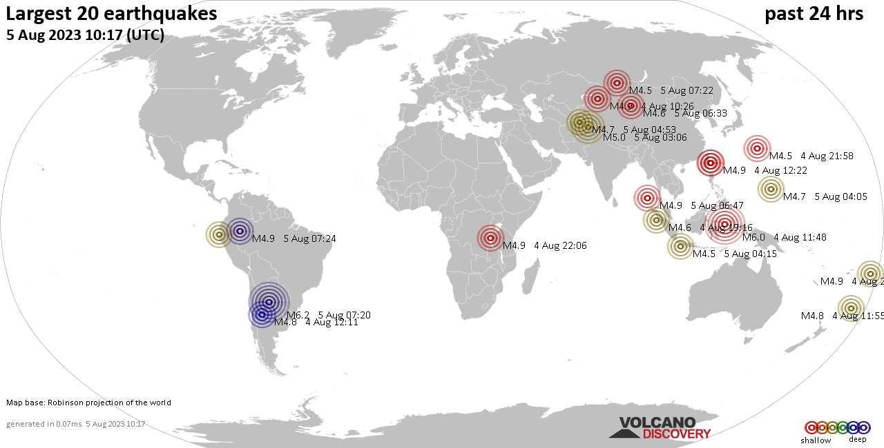 Últimos 20 terremotos más fuertes en las últimas 24 horas