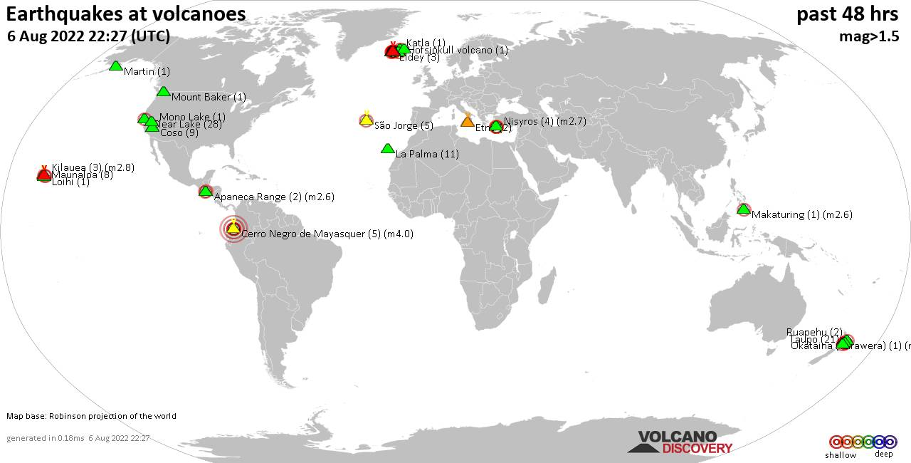 Shallow earthquakes near active volcanoes during the past 48 hours (update 00:30, Saturday, 24 Oct 2020)
