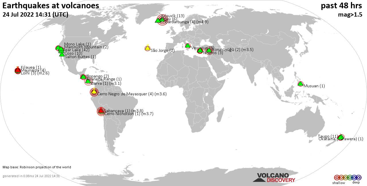Shallow earthquakes near active volcanoes during the past 48 hours (update 08:21, Mittwoch, 25 Nov 2020)