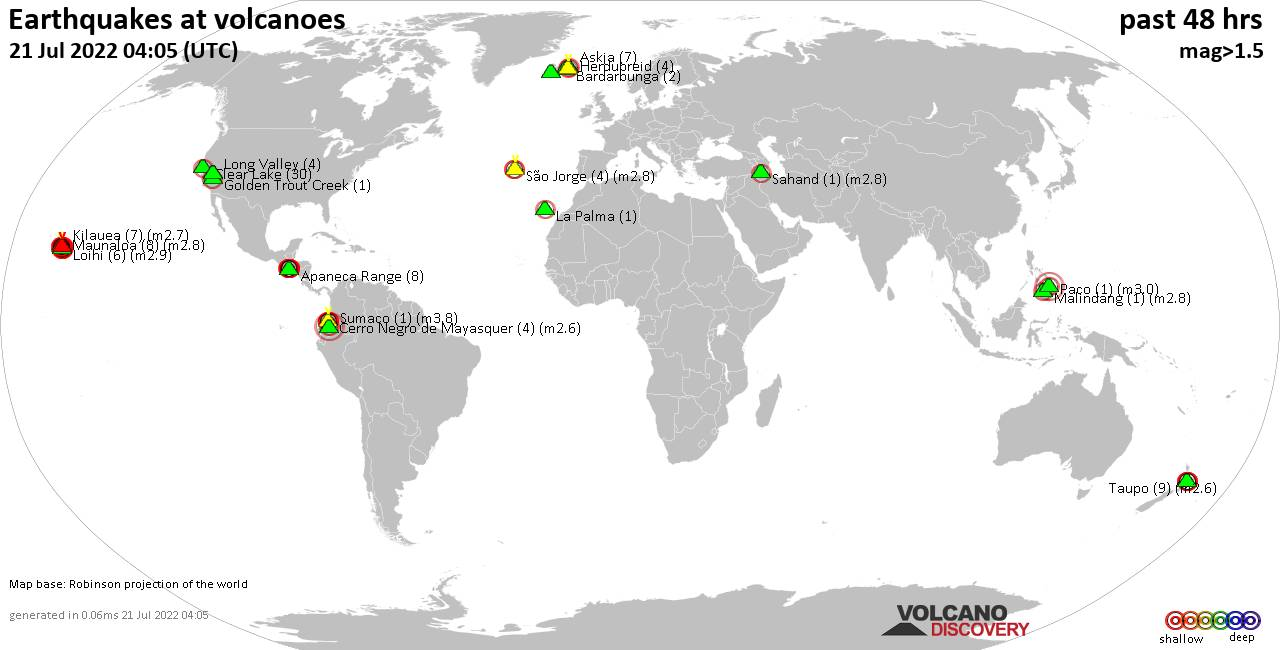 Shallow earthquakes near active volcanoes during the past 48 hours (update 16:23, Friday, 18 Jun 2021)