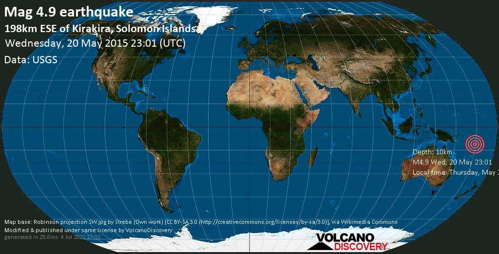 Mag. 4.9 earthquake  - 198km ESE of Kirakira, Solomon Islands, on Thursday, May 21, 2015 10:01:41
