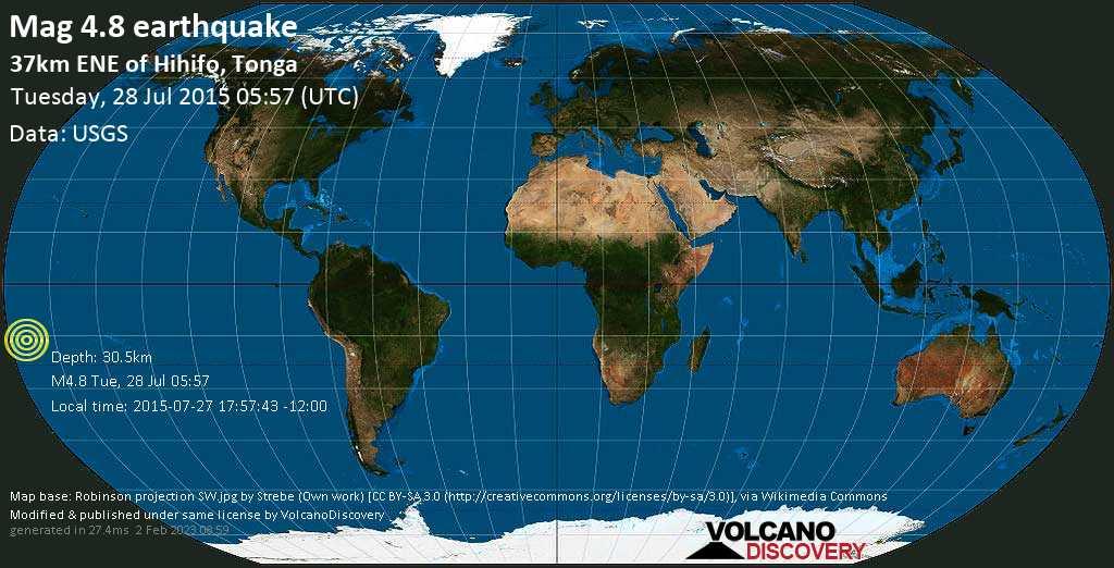 Mag. 4.8 earthquake  - South Pacific Ocean, 43 km east of Hihifo, Niuas, Tonga, on 2015-07-27 17:57:43 -12:00
