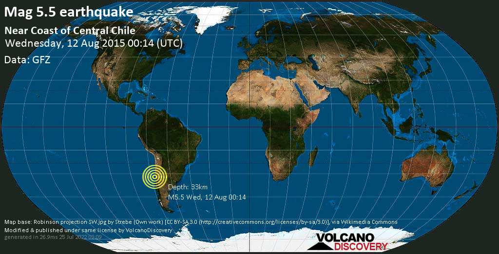 Moderate mag. 5.5 earthquake  - Choapa, 36 km west of Illapel, Provincia de Choapa, Coquimbo Region, Chile, on Wednesday, 12 August 2015 at 00:14 (GMT)