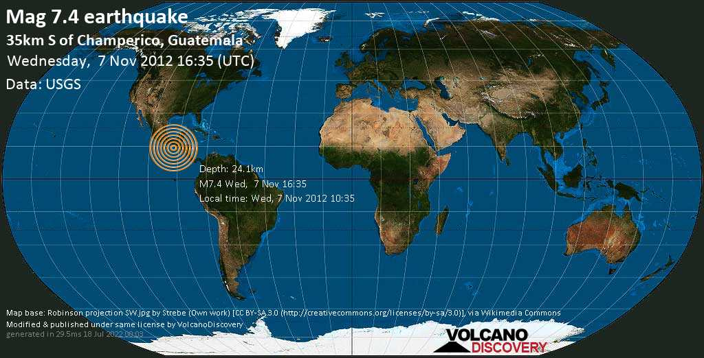 Major mag. 7.4 earthquake  - 35km S of Champerico, Guatemala on Wednesday, 7 November 2012