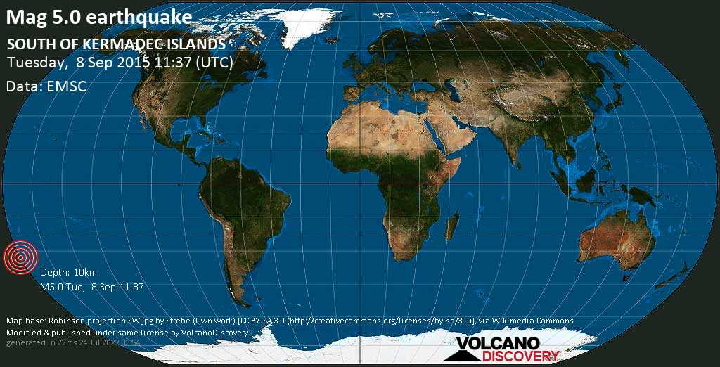 Moderate mag. 5.0 earthquake  - SOUTH OF KERMADEC ISLANDS on Tuesday, 8 September 2015