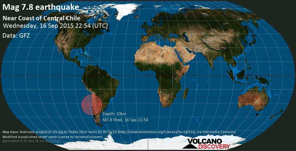 Major mag. 7.8 earthquake  - Near Coast of Central Chile on Wednesday, 16 September 2015