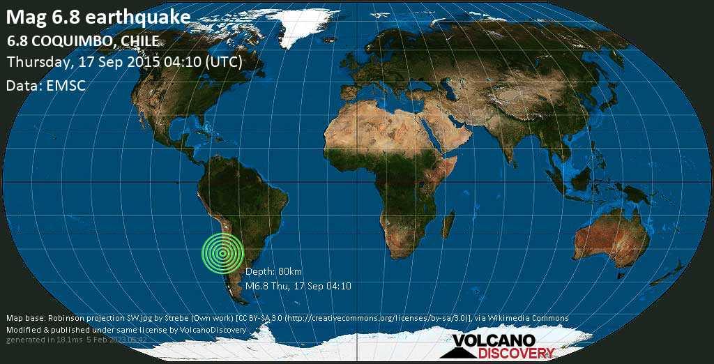 Starkes Erdbeben der Stärke 6.8 - 6.8  COQUIMBO, CHILE, am Donnerstag, 17. Sep 2015 um 04:10 GMT