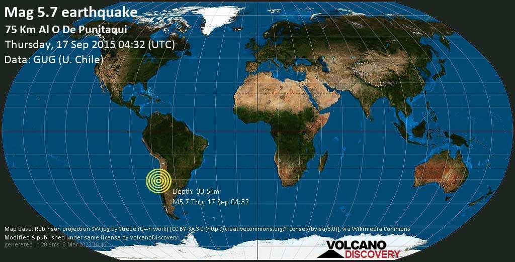 Strong mag. 5.7 earthquake - South Pacific Ocean, 310 km northwest of Santiago, Santiago Metropolitan, Chile, on Thursday, 17 September 2015 at 04:32 (GMT)