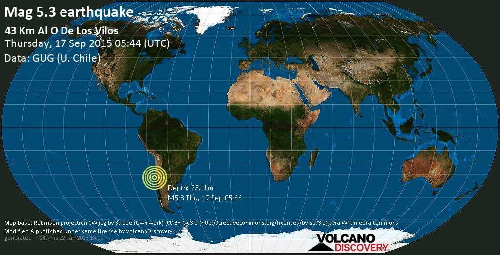 Fuerte terremoto magnitud 5.3 - South Pacific Ocean, 98 km NW of La Ligua, Petorca Province, Valparaiso, Chile, jueves, 17 sep. 2015