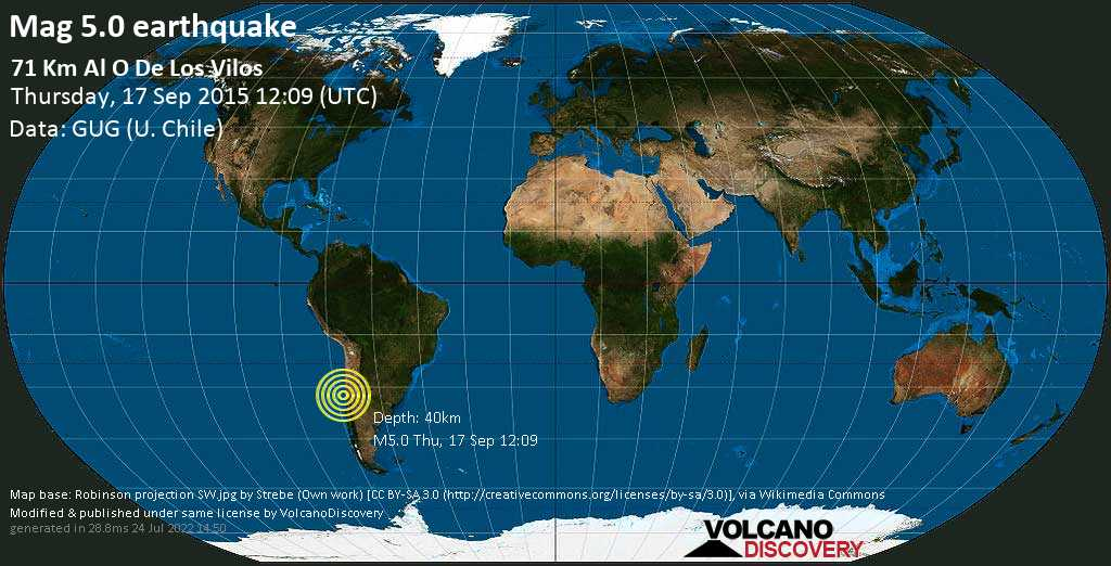 Moderate mag. 5.0 earthquake - South Pacific Ocean, 203 km northwest of Santiago del Cile, Provincia de Santiago, Santiago Metropolitan, Chile, on Thursday, 17 September 2015 at 12:09 (GMT)
