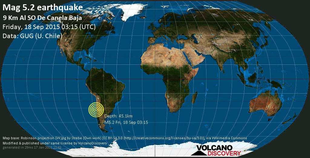 Moderate mag. 5.2 earthquake - Choapa, 40 km northwest of Illapel, Provincia de Choapa, Coquimbo Region, Chile, on Friday, 18 September 2015 at 03:15 (GMT)