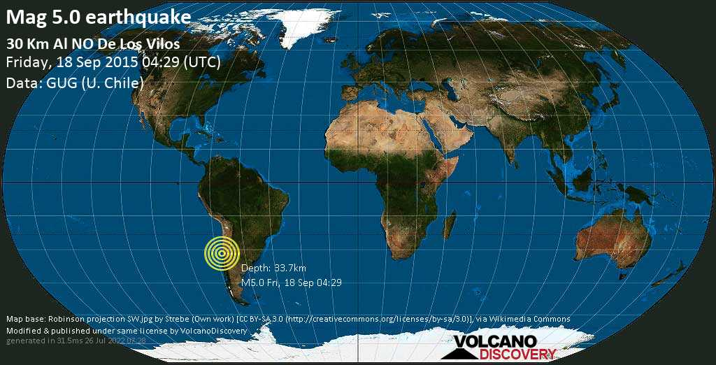 Moderate mag. 5.0 earthquake  - South Pacific Ocean, 46 km west of Illapel, Provincia de Choapa, Coquimbo Region, Chile, on Friday, 18 September 2015 at 04:29 (GMT)