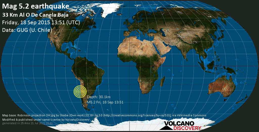Moderate mag. 5.2 earthquake  - South Pacific Ocean, 64 km west of Illapel, Provincia de Choapa, Coquimbo Region, Chile, on Friday, 18 September 2015 at 13:51 (GMT)