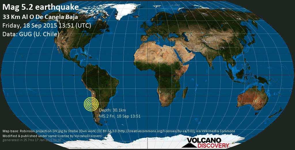 Moderates Erdbeben der Stärke 5.2 - South Pacific Ocean, 64 km westlich von Illapel, Provincia de Choapa, Coquimbo Region, Chile, am Freitag, 18. Sep 2015 um 13:51 GMT