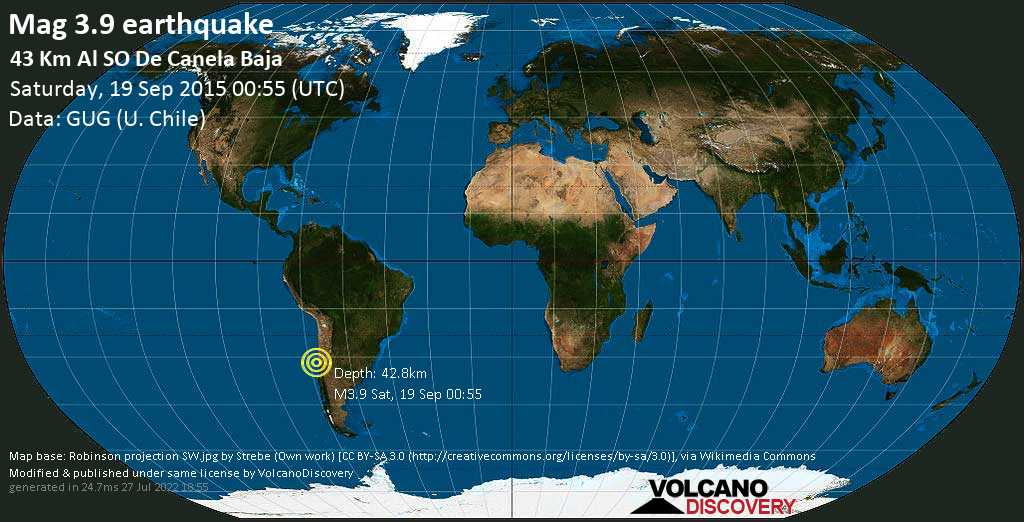 Mag. 3.9 earthquake  - South Pacific Ocean, 65 km west of Illapel, Provincia de Choapa, Coquimbo Region, Chile, on Saturday, 19 September 2015 at 00:55 (GMT)