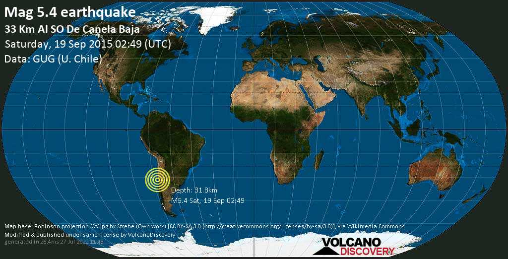 Strong mag. 5.4 earthquake - South Pacific Ocean, 58 km west of Illapel, Provincia de Choapa, Coquimbo Region, Chile, on Saturday, 19 September 2015 at 02:49 (GMT)