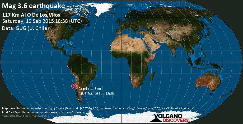 Light mag. 3.6 earthquake - South Pacific Ocean, 283 km northwest of Santiago de Chile, Provincia de Santiago, Santiago Metropolitan, Chile, on Saturday, 19 September 2015 at 18:38 (GMT)