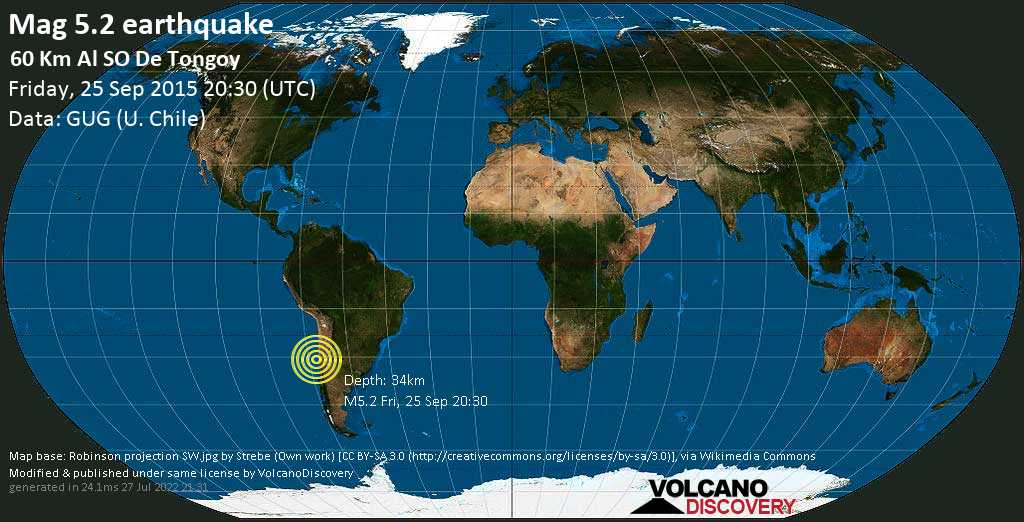 Moderate mag. 5.2 earthquake - South Pacific Ocean, 69 km west of Ovalle, Provincia de Limari, Coquimbo Region, Chile, on Friday, 25 September 2015 at 20:30 (GMT)