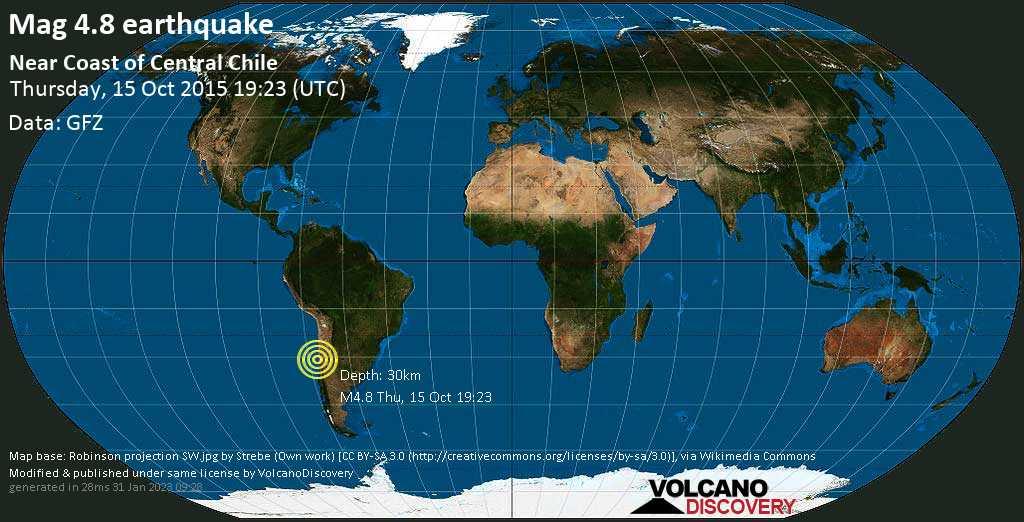 Moderates Erdbeben der Stärke 4.8 - Limarí, 33 km westlich von Ovalle, Provincia de Limari, Coquimbo Region, Chile, am Donnerstag, 15. Okt 2015 um 19:23 GMT