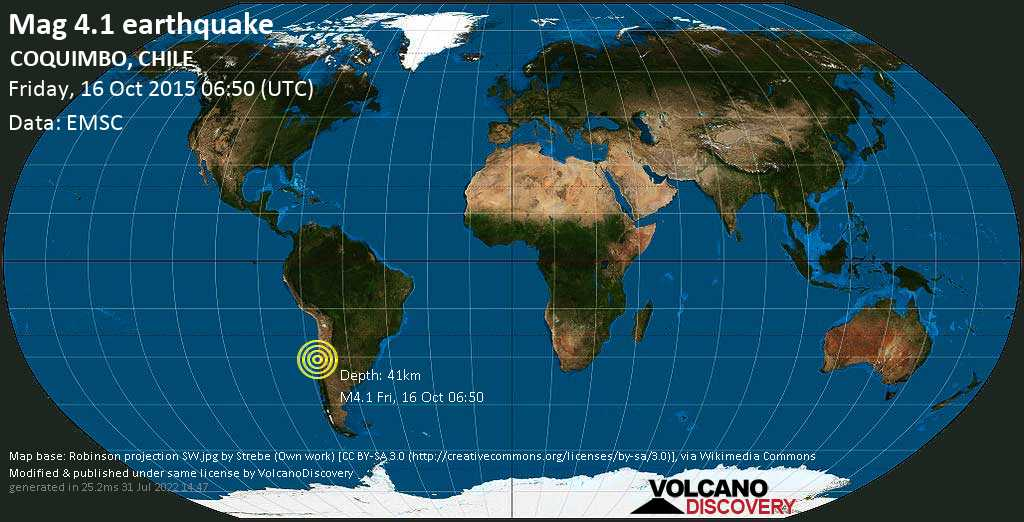 Mag. 4.1 earthquake  - Limarí, 32 km west of Ovalle, Provincia de Limari, Coquimbo Region, Chile, on Friday, 16 October 2015 at 06:50 (GMT)