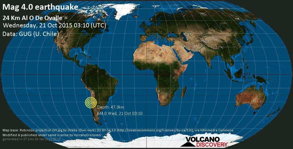 Sismo leggero mag. 4.0 - 25 km a ovest da Ovalle, Provincia de Limari, Coquimbo Region, Cile, mercoledì, 21 ottobre 2015