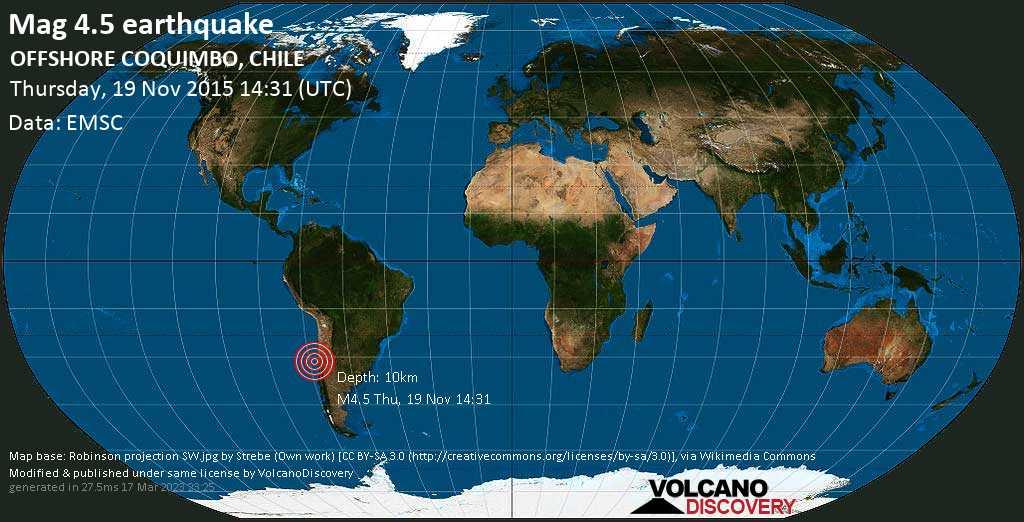 Terremoto moderado mag. 4.5 - South Pacific Ocean, 301 km NW of Santiago de Chile, Provincia de Santiago, Santiago Metropolitan, Chile, jueves, 19 nov. 2015