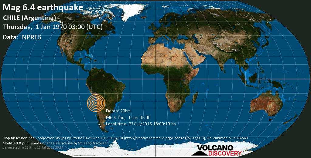 Strong mag. 6.4 earthquake  - South Pacific Ocean, 967 km north of Santiago, Provincia de Santiago, Santiago Metropolitan, Chile, on 27/11/2015 18:00:19 hs