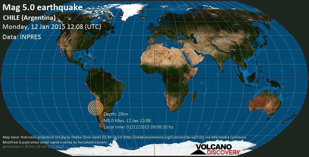Terremoto moderato mag. 5.0 - South Pacific Ocean, 46 km a sud ovest da Coquimbo, Provincia de Elqui, Coquimbo Region, Cile, lunedì, 12 gennaio 2015