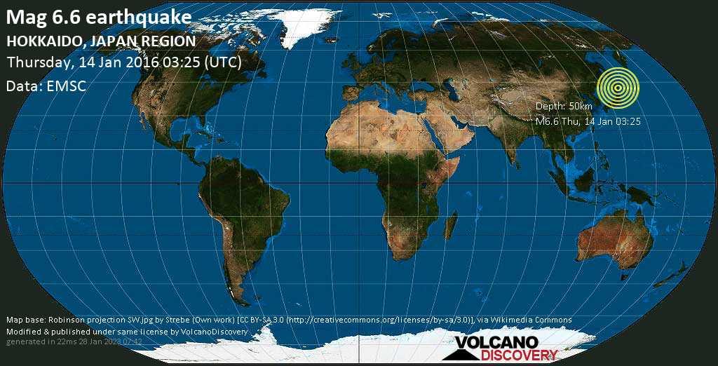 Very strong mag. 6.6 earthquake - North Pacific Ocean, 39 km southeast of Shizunai-furukawachō, Japan, on Thursday, 14 January 2016 at 03:25 (GMT)