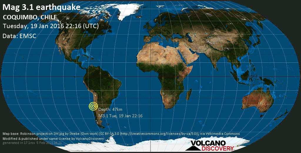 Mag. 3.1 earthquake  - Choapa, 34 km northwest of Illapel, Provincia de Choapa, Coquimbo Region, Chile, on Tuesday, 19 January 2016 at 22:16 (GMT)
