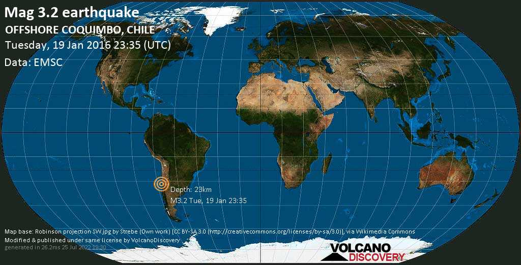 Mag. 3.2 earthquake  - South Pacific Ocean, 46 km west of Illapel, Provincia de Choapa, Coquimbo Region, Chile, on Tuesday, 19 January 2016 at 23:35 (GMT)