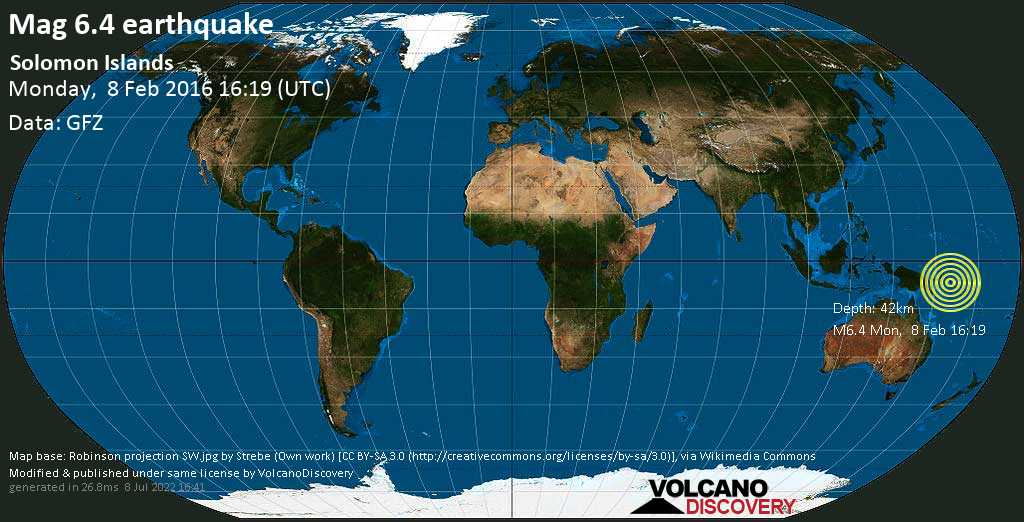 Very strong mag. 6.4 earthquake - Solomon Sea, 60 km southwest of Torokina Islet Island, Papua New Guinea, on Monday, 8 February 2016 at 16:19 (GMT)