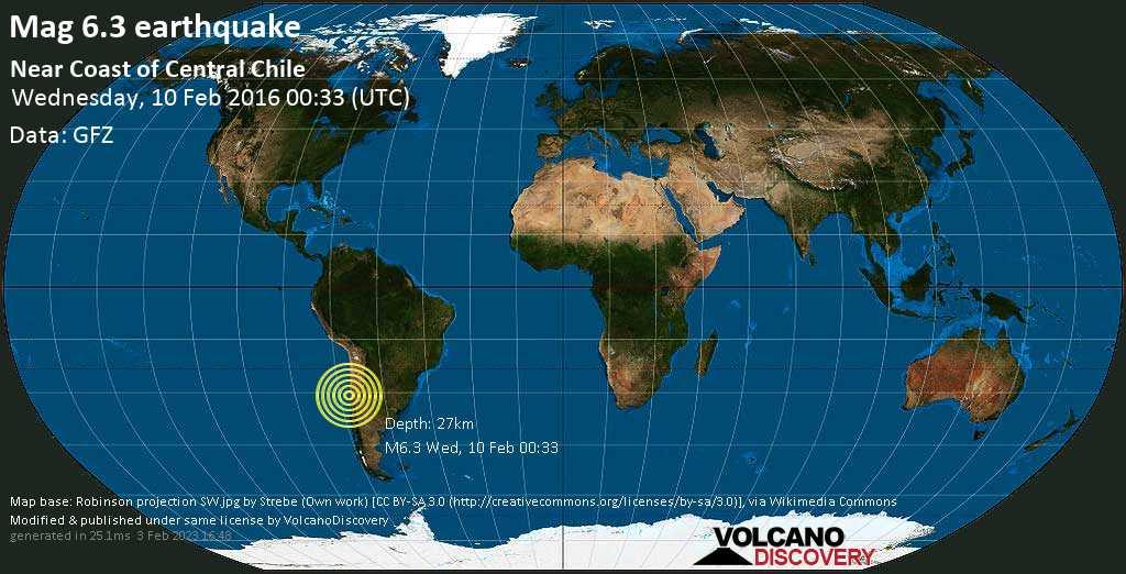 Sehr starkes Magnitude 6.3 Erdbeben - 26 km westlich von Ovalle, Provincia de Limari, Coquimbo Region, Chile, am Mittwoch, 10. Feb 2016 um 00:33 GMT