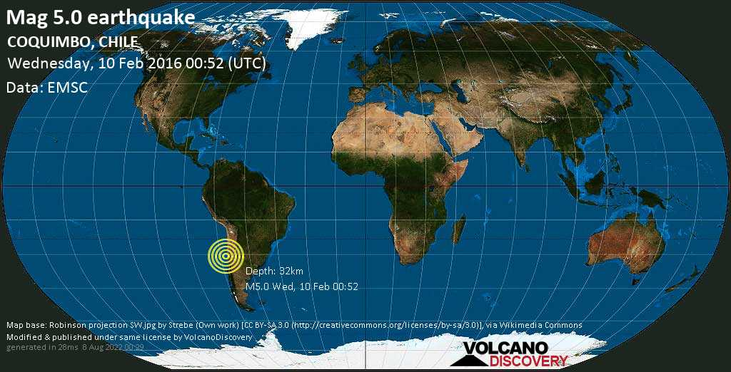 Moderate mag. 5.0 earthquake  - Limarí, 41 km west of Ovalle, Provincia de Limari, Coquimbo Region, Chile, on Wednesday, 10 February 2016 at 00:52 (GMT)