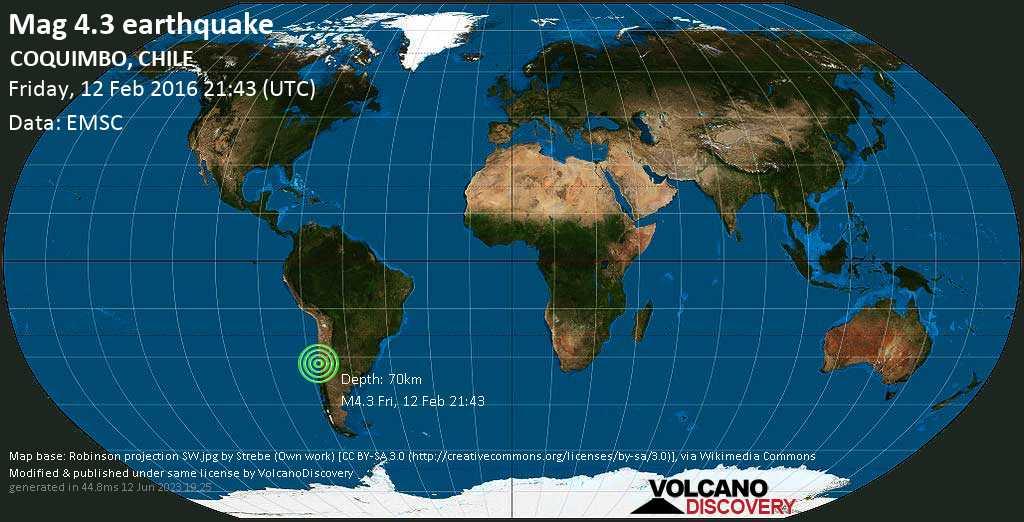 Mag. 4.3 earthquake  - Choapa, 25 km southwest of Illapel, Provincia de Choapa, Coquimbo Region, Chile, on Friday, 12 February 2016 at 21:43 (GMT)