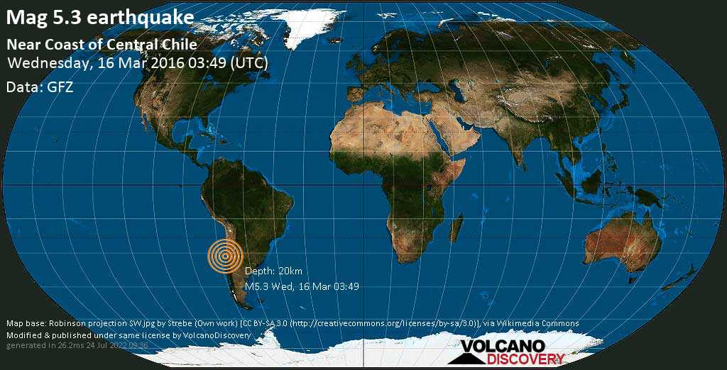 Moderate mag. 5.3 earthquake  - South Pacific Ocean, 61 km northwest of Illapel, Provincia de Choapa, Coquimbo Region, Chile, on Wednesday, 16 March 2016 at 03:49 (GMT)