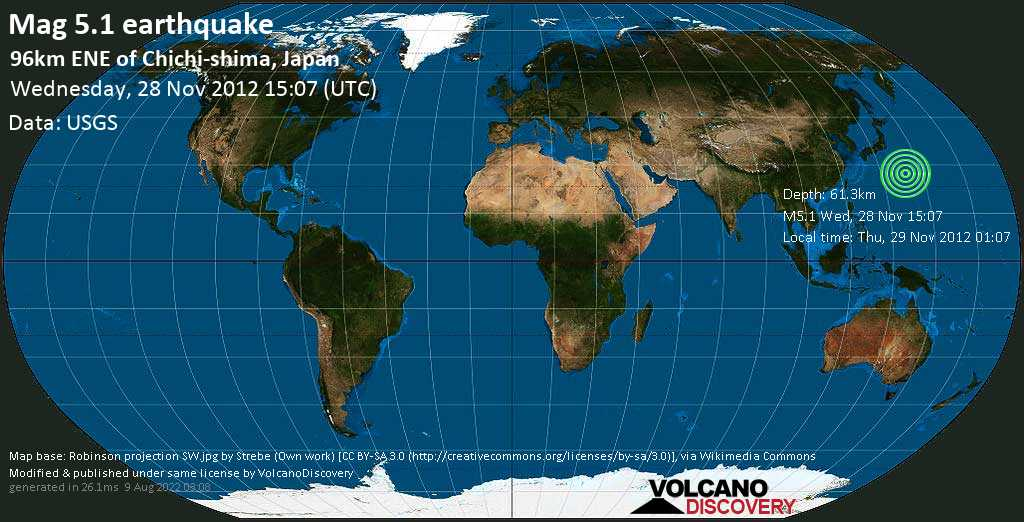 Moderate mag. 5.1 earthquake  - North Pacific Ocean, 994 km south of Tokyo, Japan, on Thu, 29 Nov 2012 01:07