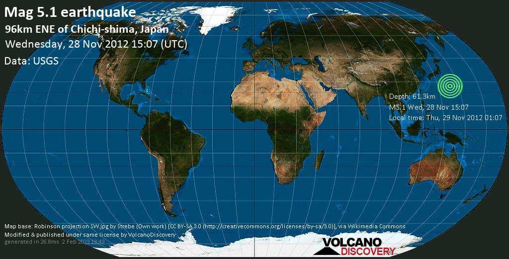 Terremoto moderato mag. 5.1 - North Pacific Ocean, 994 km a sud da Tokyo, Giappone, mercoledì, 28 novembre 2012