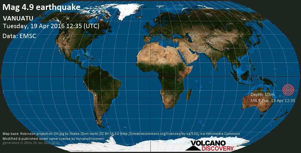 Moderate mag. 4.9 earthquake - Coral Sea, 455 km northwest of Port Vila, Shefa Province, Vanuatu, on Tuesday, 19 April 2016 at 12:35 (GMT)