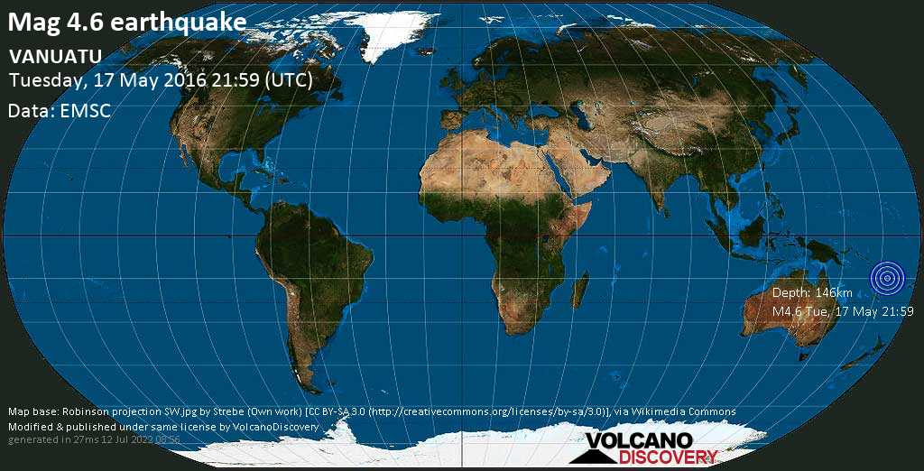 Light mag. 4.6 earthquake - Coral Sea, 45 km northeast of Port-Olry, Sanma Province, Vanuatu, on Tuesday, 17 May 2016 at 21:59 (GMT)