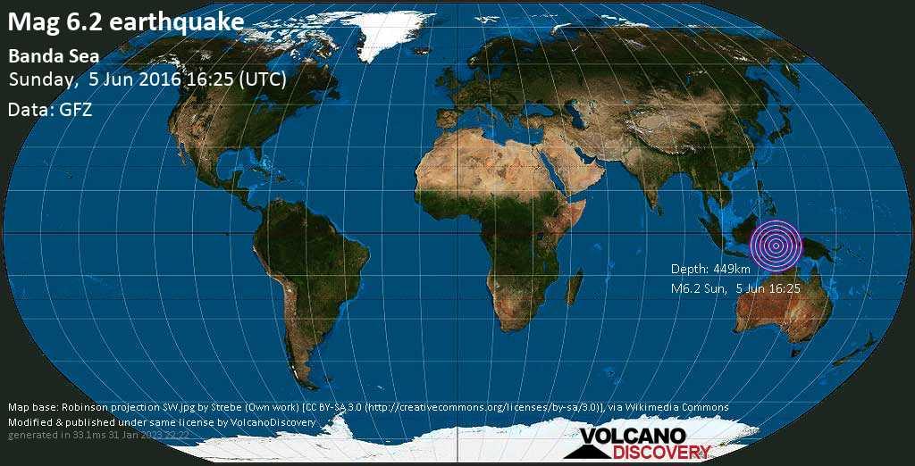 Strong mag. 6.2 earthquake  - Banda Sea, Indonesia, on Sunday, 5 June 2016 at 16:25 (GMT)