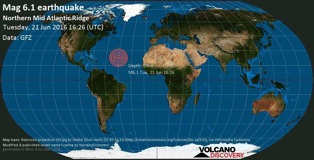 Starkes Erdbeben der Stärke 6.1 - Northern Mid Atlantic Ridge am Dienstag, 21. Jun. 2016