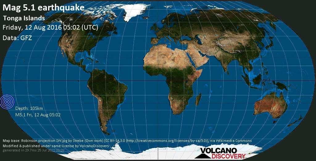 Moderate mag. 5.1 earthquake - South Pacific Ocean, 64 km southwest of Nuku\'alofa, Tongatapu, on Friday, 12 August 2016 at 05:02 (GMT)