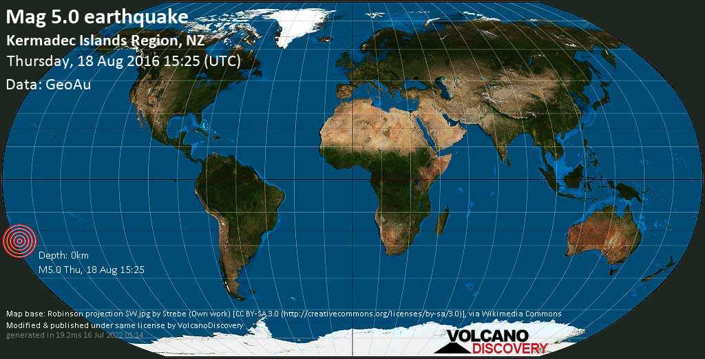 Moderate mag. 5.0 earthquake  - Kermadec Islands Region, NZ on Thursday, 18 August 2016
